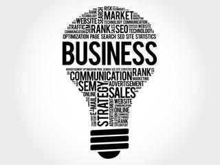 BUSINESS bulb word cloud, business concept