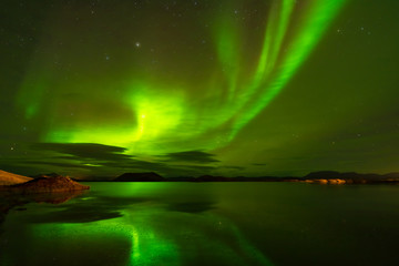 Northern lights (Aurora Borealis) reflected in the lake