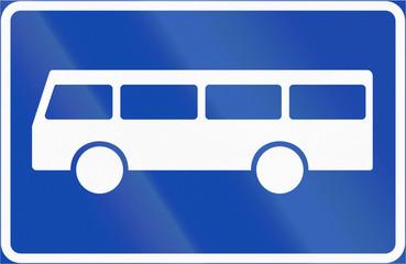 Norwegian regulatory road sign - Bus stop
