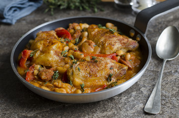 Spanish chicken with beans