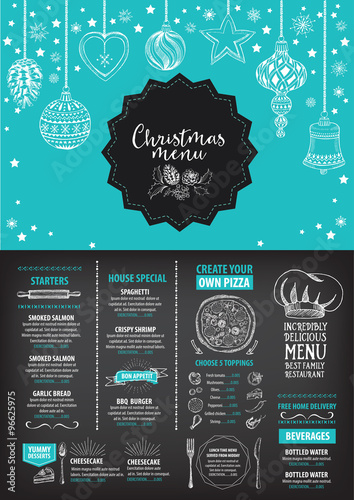 Quot vector christmas restaurant brochure menu design