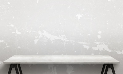 Modern white wooden table with legs and free space. Cracked white wall texture in background.