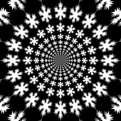 Concentric, abstract symbols, snowflakes - optical, visual illusion. Set of snowflakes, departing from the center