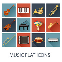Set of flat music icons