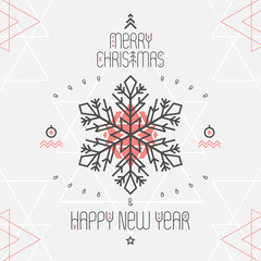 Christmas geometric background with snowflake