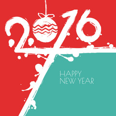 New Year 2016 vector greeting card with red and blue background.
