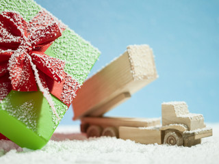 christmas decoration with vintage toys retro style