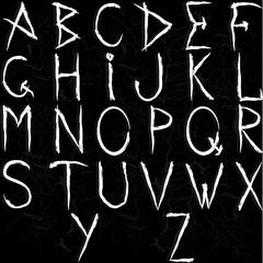 Шрифт. Буквы и знаки в рваном стиле. Алфавит.