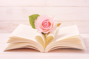 Pastel Rose and opened Book with heart shape in the middle page