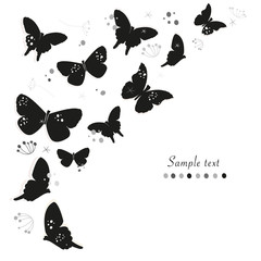Black butterflies design and abstract decorative flowers greeting card vector background