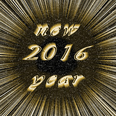 New Year 2016 image in centre of dark gold fireworks