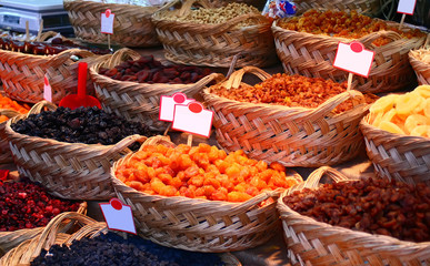 Organic Different Types Of Dried Or Candied Fruits At A Street M
