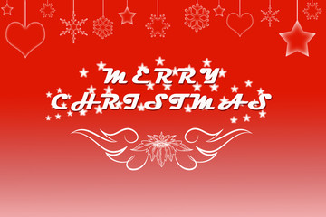 Artistic Merry Christmas text written on red background with garland