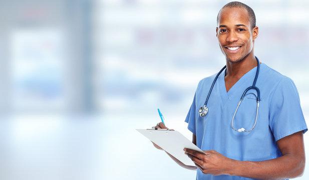 African-american doctor man.