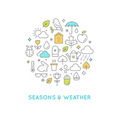 Weather and Seasons Line Icons Round  Illustration