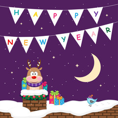 New Year poster with reindeer