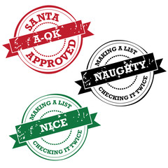 Santa Claus rubber stamp collection Naughty nice and a-ok EPS 10 vector stock illustration