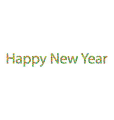 Happy New Year lettering from colourful confetti