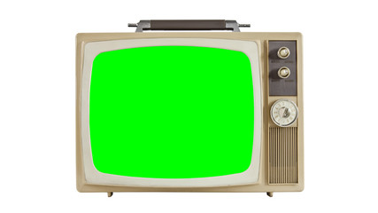 Vintage Television with Chroma Green Screen