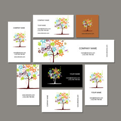 Business cards collection, floral tree design