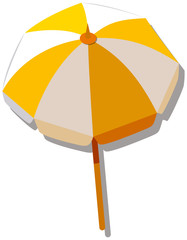 Single umbrella with yellow and white striped