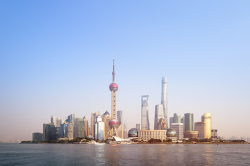 View of Pudong district in Shanghai, China.