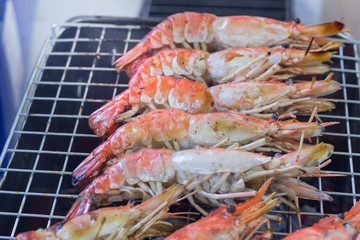 Grilled Giant River Prawn on grill