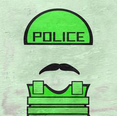police with helmet on wood grain texture