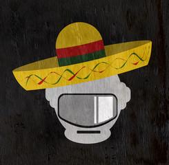 robot head wearing sombrero on wood grain texture