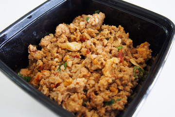Spicy basil leaves with mince pork