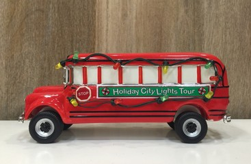 school bus with christmas decorations