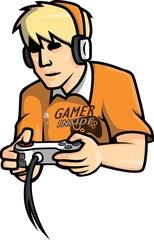 Gamers man vector illustration design