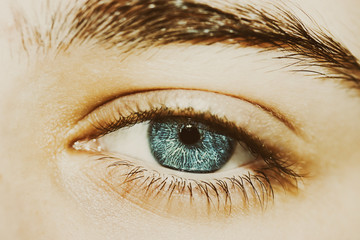 insightful look a beautiful blue eyes boy