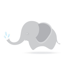 cute elephant spraying water, cartoon drawing thailand