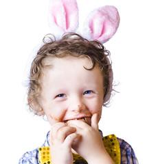 Boy eating Easter egg