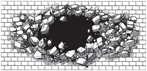 Hole Breaking Through Wide Brick Wall