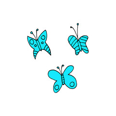 Cartoon butterfly flat sticker icon.