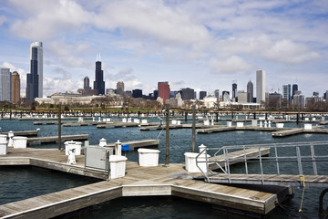 Fototapete - Chicago seen from empty marina