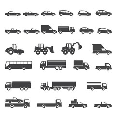 car icons mono symbol vector illustration