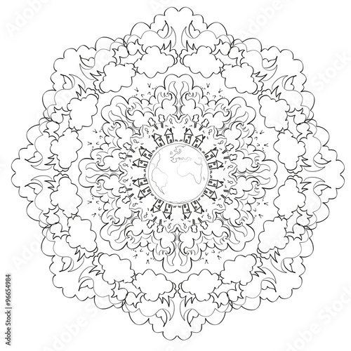 Mandala terre paysage mandala stock image and royalty - Mandala paysage ...