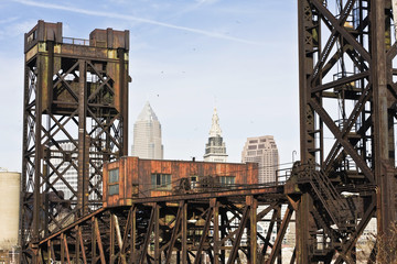 Fototapete - Bridge in Downtown Cleveland