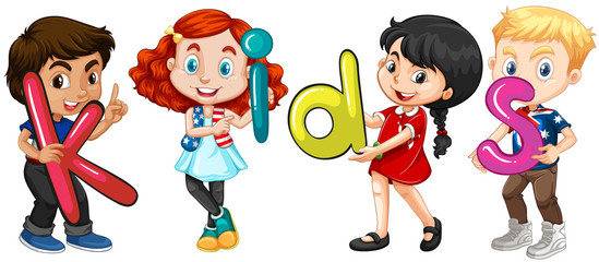 Boys and girls holding alphabets