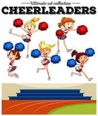 Cheerleaders cheering in the field
