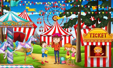 People having fun at the circus