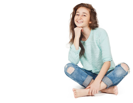 cheerful cute teen girl 17-18 years, isolated on a white backgro