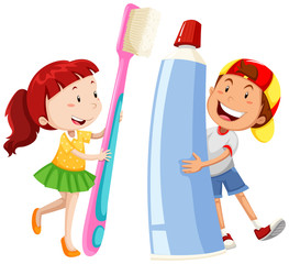 Boy and girl with giant toothbrush and paste