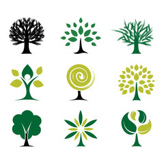 Tree and Plant Icon Collection Bundle Set