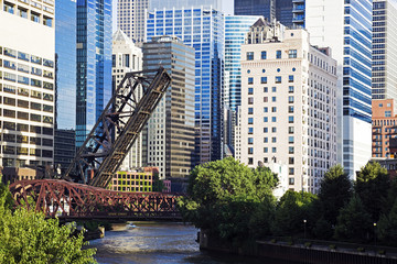 Fototapete - Bridges on Chicago River