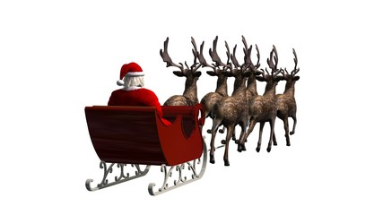 Santa Claus with sleigh and reindeer