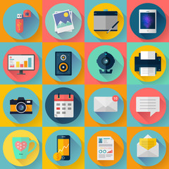 Set of Modern flat icons. Vector collection for freelancers work at home